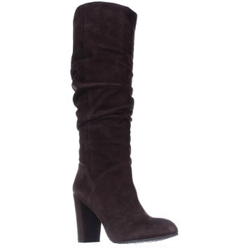 Nine West Shiryl Tall Slouch Pull On Boots - Dark Brown