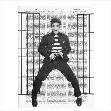 Vintage Dictionary Paper -Elvis Presley Jailhouse Rock Dictionary Art Print