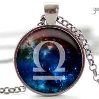 Libra Nebula Necklace, Zodiac Pendant in Your Choice of Finish (1263)