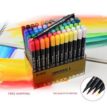 80 Colors Art and Graphic Drawing Manga Water Based Pigment Ink Twin Tip Brush&Fine Tip Sketch Marker Pen Aquarelle Brush Pen