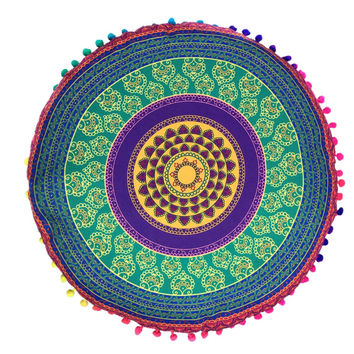 Geometric Indian Mandala Floor Pillows Round Bohemian Cushion Cover Case