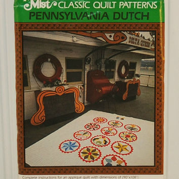 Mountain Mist Class Quilt Patterns Pattern No. 129 Pennsylvania Dutch (c. 1970's-1980's) 12 Different Barn Hex Signs, Quilting Project