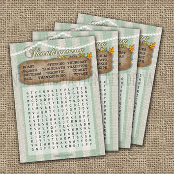 Thanksgiving Word Search Party Game Card, Autumn Leaves Thanksgiving Puzzle, Thanksgiving Dinner Party Game, Mushroom Baby, Printable Card