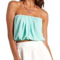 Pleated Chiffon Tube Top by Charlotte Russe