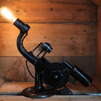 Vintage Microscope Lamp - Repurposed Bausch and Lomb Lighting - Upcycled Antique Desk Light - Table Lamp