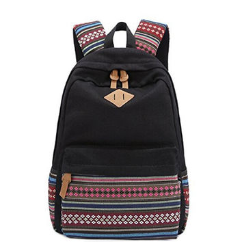 Fashion Bohemian Style Canvas Laptop Backpack Rucksack Double-Shoulder Bag Travel Bag (Black) [8384616135]