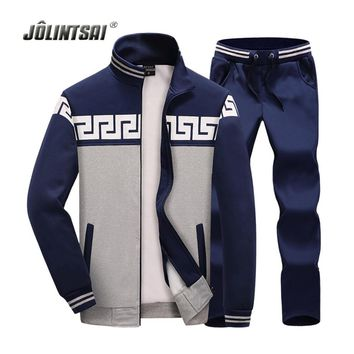 Jolintsai Hoodies Men 2017 Sweatshirts+Pant Men Tracksuits Sets Zipper Sporting Suit Male Stand Collar Plus Size 4xl