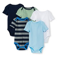 Newborn Boys' 5 Pack Shortsleeve Bodysuit Blue - Circo