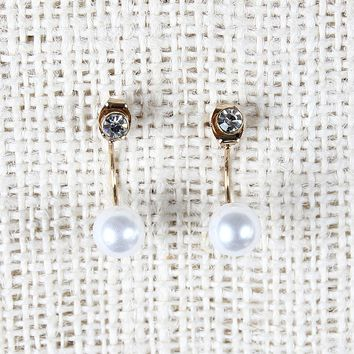 Mini Post And Pearl Jacket Earrings
