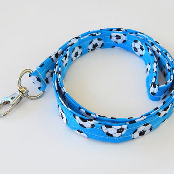 Soccer Lanyard / Coach Lanyard / Soccer Ball Keychain / Blue / Key Lanyard / ID Badge Holder / Fabric Lanyard / Football