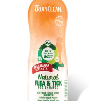 TropiClean Natural Flea & Tick Shampoo, Maximum Strength 20 oz