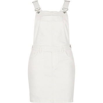 Cream denim pinafore overall dress - overalls - rompers / jumpsuits - women