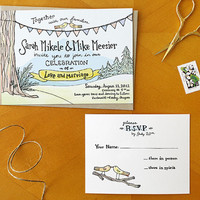 Evergreen in Love: Painted Wedding Invitation and RSVP Postcard Suite  / Deposit