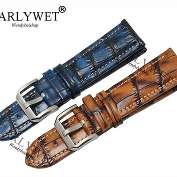 CARLYWET 20 22mm Handmade Leather Brown Blue VINTAGE Replacement Wrist Watch Band Strap Belt Bracelet with Silver Brush Buckle