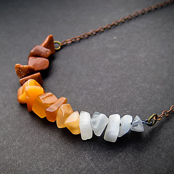 Ombre Necklace, Dark Oranges Necklace, Curved Bar, Gradated Stone Necklace, Delicate, Dainty, Precious Stone, Trendy, Anthropologie Inspired