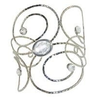 Jeweled Arm Band Armband Armlet Body Jewelry, in Silver Tone with Clear Finish