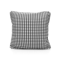 WHITE GRID PRINT CUSHION