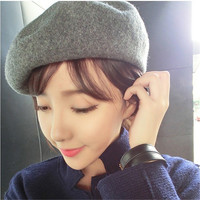 Popular Warm Women Casual Beret Beanie Hat Cap Baggy Solid Wool Vintage Hats Beanie Spring Winter Faux Fur HatFor Female