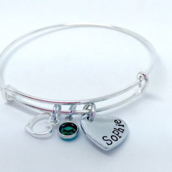 Personalized bracelet - hand stamped bangle - gift for her - bridesmaid - expandable bangle - charm bracelet