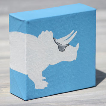 """Dinosaur Pirate Painting, Triceratops Silhouette / 4"""" x 4"""" Canvas, More Colors Available"""