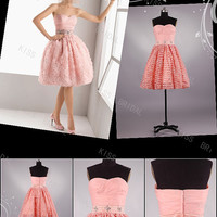 Sweetheart sleeveless pink organza with beads sashes Mini prom dresses