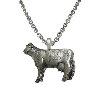 Silver Toned Cow Pendant Necklace