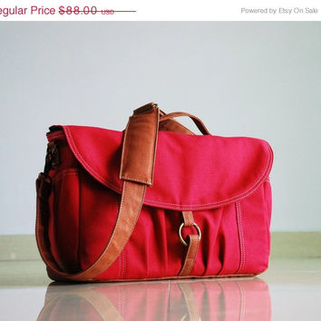 NEW YEAR SALE 20% - Koi in Rose Red - Canvas Camera / Dslr Camera Bag / Waxed Canvas / Padded / Water Resistant  Purse Woman's Messenger / C