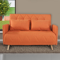 Orange 2-Seat Fabric Sofa Bed Sofa Bed with 2 Cushsions