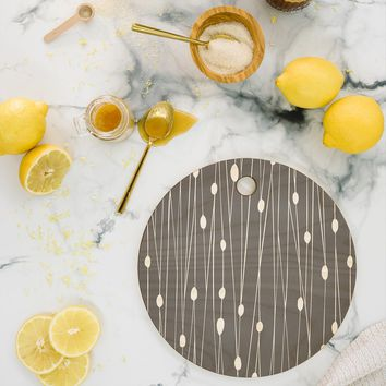 Heather Dutton Gray Entangled Cutting Board Round