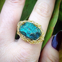 Genuine Peacock Ore Wrap Ring in Gold Filled Wire; boho, unique, hippie, colorful,crystals, raw crystal, crystal ring, pretty, cute