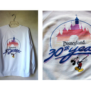 Vintage 80's Disneyland 30th anniversary Mickey mouse white raglan crew neck Sweater