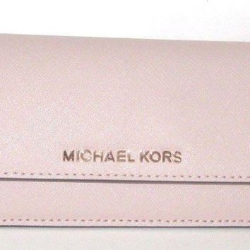 Michael Kors Jet Set Travel Flat Ballet Pink Saffiano Leather Wallet NWT $128