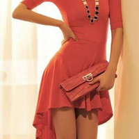 Red Asymmetrical Dovetail Dress