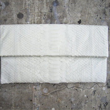 White Pastel Fold Over Python Snakeskin Leather Clutch by linmade