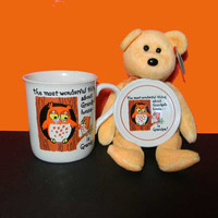 "Grandpa Mug With Lid/Coaster and FREE Beanie Baby. ""The most wonderful thing about Grandpa's House . . ."" Vintage. 3973"