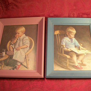 Boy in Rocking Chair Reading, Girl with Milk and Cookies, Pair of Framed Art Prints from TKSPRINGTHINGS Home Sweet Vintage Home Collection