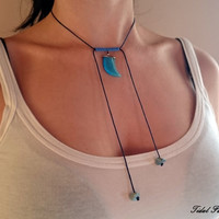 Macrame necklace - Tooth necklace - Blue tooth - glass - ressin charm - cord necklace - blue necklace - choker - long necklace - elegant