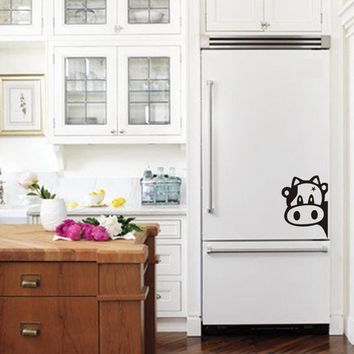 Funny Cow Kitchen Fridge Sticker Vinyl Cow Decals For Home Kitchen Refrigerator Wall Tiles Cabinets Decorations