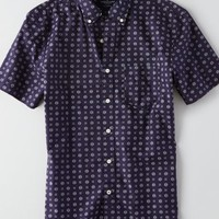 AEO Men's Printed Poplin Shirt (Navy)