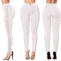 Lace Up Side White High Waist Pants