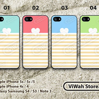 Coral Heart Stripes iPhone 5 Case, Colorful Stripe iPhone 5 5s 5c Hard Case Rubber Case, cover skin case for iPhone 5 5s 5c case