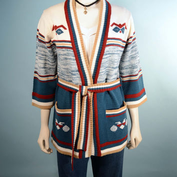 VTG 70s Southwestern Ethnic Tribal Boho Cardigan/Striped Bell Sleeve Wrap Sweater Jumper/Music Festival Hipster Grunge Belted Tunic Top SZ M