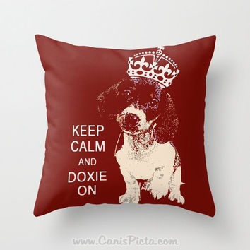 Keep Calm and Doxie On Throw Pillow 16x16 Graphic Print Cover Decorative Pet Red Maroon Puppy Movie Piebald Smooth Crown Dog Cute Blood