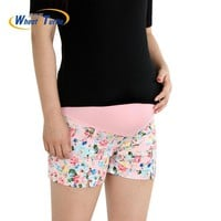Maternity Floral Printed cotton shorts With Elastic Belly Support