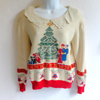 Tacky Christmas Sweater 80s Design with Lace Collar