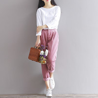 Women Winter Pants 4 Colors Corduroy Women Harem Pants Warm Winter Trousers Plus Size women clothing Casual Loose Pants
