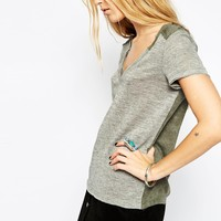 ASOS T-Shirt in Oil Wash with Woven Back and V Neck