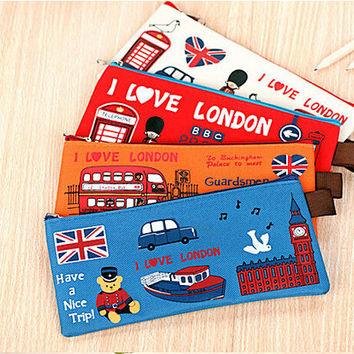 AB38 1X Kawaii I Love London Soldier Oxford Pencil Bag Box File Case Holder Storage Stationery School Supplies Student Gift