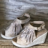 Walk This Way Taupe Wedges with Fringe