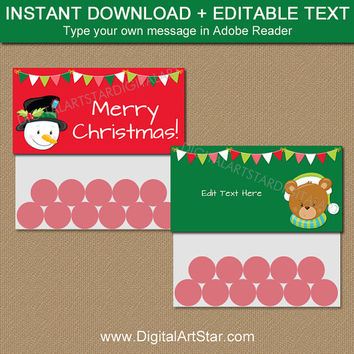 Christmas Bag Tags, Printable Holiday Bag Tags, Christmas Treat Bag Toppers, EDITABLE Christmas Goodie Bag Toppers, Holiday Favor Bags C2